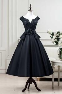 Cap Sleeve Pleated Lace Bodice Satin Tea Length Dress With Flower