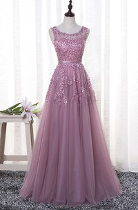 Sleeveless Adorable Bateau Tulle Floor-length Dress With Floral Appliques And Beading