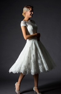 A-Line Mini Jewel V-Neck Bell Cap Appliques Zipper Lace-Up Back Lace Dress