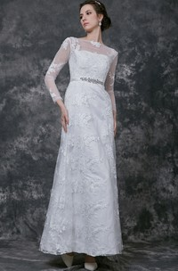 Mature Long Sleeve Sheer Neck Long Lace Dress With Crystal Detailing