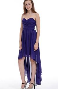 A-line Asymmetrical Sweetheart Chiffon Dress