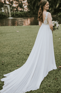 A Line V-neck Chiffon and Lace Floor-length Court Train Sleeveless Wedding Dress