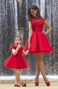 Lovely Red Lace Dress Tulle Short Cocktail Dress