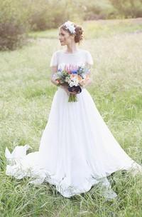 Jewel Short Sleeve Long Chiffon Wedding Dress With Sash And Low-V Back
