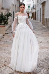 Elegant Tulle Bateau Illusion Long Sleeve Bridal Gown with Applique