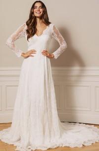 Modest Lace V-neck A Line Floor-length Court Train Deep-V Back Wedding Dress