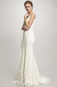V-Neck Floor-Length Bowed Lace Wedding Dress With Brush Train