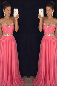 Newest Chiffon Pink Beadings A-line Evening Dress Sweetheart Sleeveless