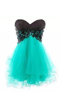 A-line Sweetheart Sleeveless Pleats Short Mini Lace Tulle Homecoming Dress