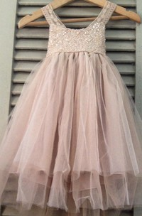 Sleeveless Scoop Neck Pleated Tulle&Lace Dress With Strapped Back