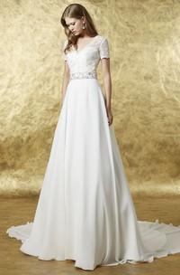 A-Line Maxi Lace V-Neck Short Sleeve Chiffon Wedding Dress