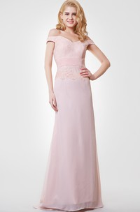 Off-the-shoulder Long Chiffon and Lace Dress