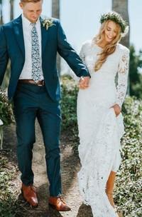 Bohemian Modern Sheath Lace Jewel Long Sleeve Floor-length Wedding Dress