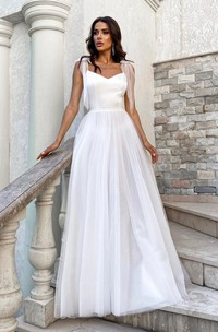 Spaghetti Satin Tulle V-neck Simple And Cute Wedding Dress With Bows On Shoulder