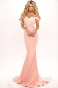 Sheath Off-The-Shoulder Appliqued Floor-Length Jersey Prom Dress
