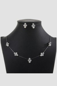 Minimalistic Flower Rhinestone Design Necklace and Earrings Jewelry Set