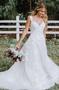 A Line Straps Lace Tulle Floor-length Sweep Train Sleeveless Wedding Dress with Appliques