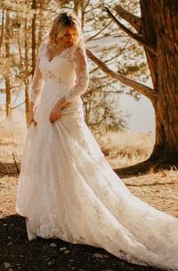Elegant Country Style Lace V-neck Illusion Long Sleeve Court-train Wedding Dress with Beadings