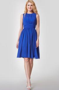 Amazing High-Neck Knee Length Chiffon Dress With Pleats