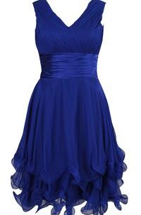 Sleeveless V-neck A-line Dress With Ruffles