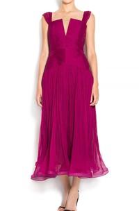 Tea Length Wedding Gown Pleated Boho Style Bohemian Wedding Beach Wedding Wedding Gown Dress