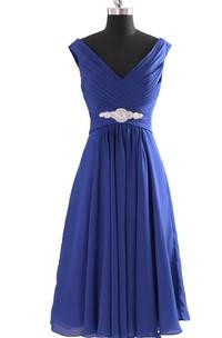 Cap-sleeved V-neck Chiffon Dress With Beadings