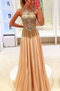 Newest Beadings Chiffon Illusion 2018 Prom Dress A-line Sweep Train