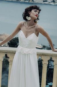 Simple Sheath Chiffon Spaghetti Long Bridal Gown with Deep-V Back