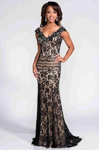 Sheath Lace Backless Cap Sleeve Prom Dress With V-Neck