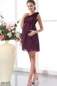 Asymmetrical Short Dress With Flower And Empire Waistline