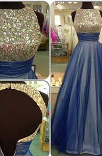 Beautiful Sequins Sleeveless Evening Dress 2018 A-Line Tulle Prom Gowns