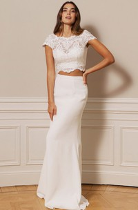 Elegant Chiffon Lace Scalloped Two Piece Floor-length Button Wedding Dress