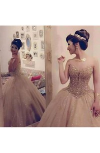 Ball Gown Sweetheart Sleeveless Floor-length Tulle Sequins Prom Dress with Pleats