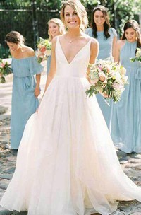 A Line Ball Gown V-neck Tulle Satin Floor-length Sleeveless Wedding Dress
