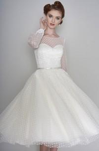 Long Sleeve Vintage Illusion Bateau Sweetheart Tulle Tea Length Wedding Dress