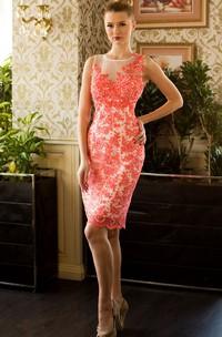 A-Line Short Jewel Sleeveless Lace Beading Appliques Illusion Dress