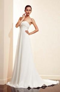 Sleeveless Floor-length Empire Long Train Dress