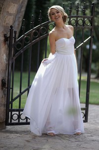 Short Strapped Sweetheart Chiffon Satin Dress With Beading Sequins