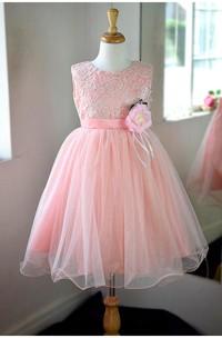 Sleeveless Jewel Neck Lace Bodice A-line Tulle Dress With Satin Belt