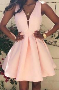 Strapless Deep V Neck A-line Short Satin Dress