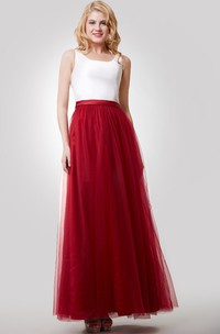 A-Line Sleeveless Color Blocking Dress With Tulle Skirt and Bateau Neck