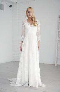 Lace A-line Elegant Long Sleeve Wedding Dress With V-neck And Deep V-back