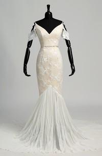 Off-the-shoulder Deep-v Back Mermaid Lace Wedding Dress