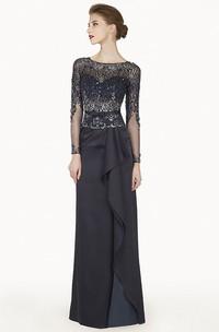Bateau Illusion Long Sleeve Satin Long Prom Dress With Cascading Skirt