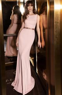 Modern Satin Bateau Sheath Sleeveless Evening Dress with Beading and Zipper Back