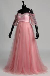 Off-the-sholder Sequined A-line Half Sleeve Mternity Dress