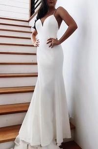 Simple Satin Mermaid Spaghetti Floor Length Wedding Dress with Bow