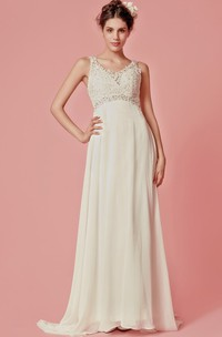 Sleeveless V-Neck Chiffon Long Dress With Lace Bodice