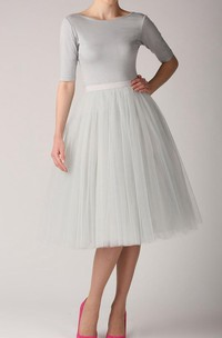 Grey Pearl Tutu Skirt Tulle Tea Length Dress