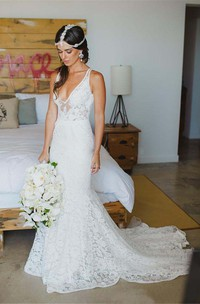 Deep V Neck Appliques Backless Trumpet Beach Lace Mermaid Bohemian Wedding Dress